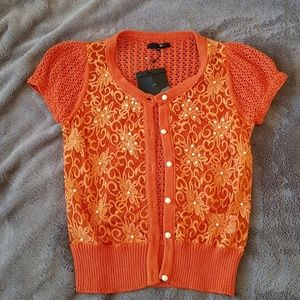 Orange pearl cardigan